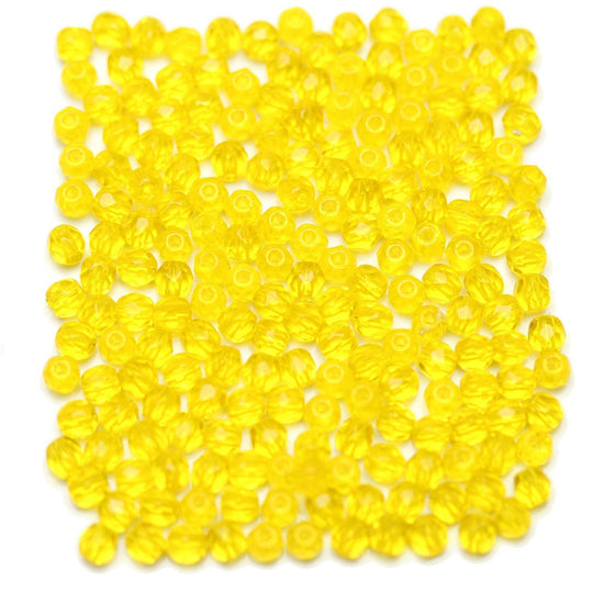 Bright Yellow Czech Glass Fire Polished Faceted Round 3mm Beads by Halcraft Collection