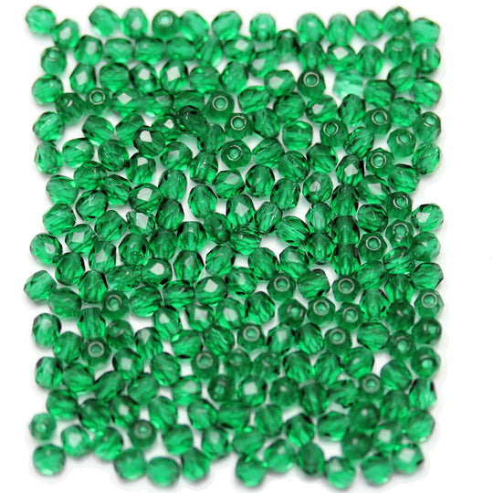Green Czech Glass Fire Polished Faceted Round 3mm