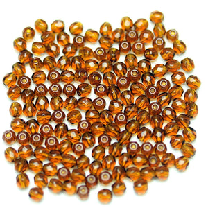 Amber Czech Glass Fire Polished Faceted Round 3mm