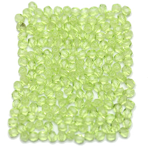 Lime Czech Glass Fire Polished Faceted Round 3mm Beads by Halcraft Collection