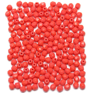 Coral Czech Glass Fire Polished Faceted Round 3mm