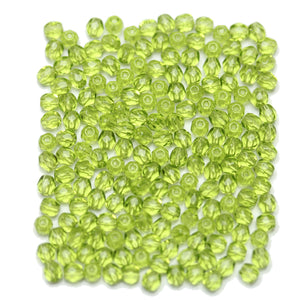 Olive Green Czech Glass Fire Polished Faceted Round 3mm