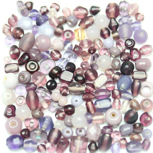 Bead, Beads, Glass, Glass Bead, Glass Beads, Mixed Beads, Mixed Bead, Assorted Beads, Assorted Bead, Purple, Lavender, 4-8mm, approx., 4mm, 5mm, 6mm, 7mm, 8mm, Made in India