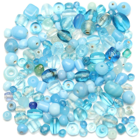 Bead, Beads, Glass, Glass Bead, Glass Beads, Mixed Beads, Mixed Bead, Assorted Beads, Assorted Bead, Aqua, Blue, 4-8mm, approx., 4mm, 5mm, 6mm, 7mm, 8mm, Made in India