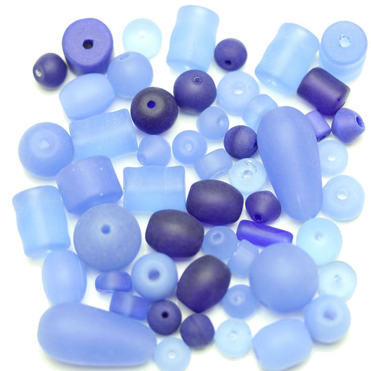 Light Blue Matt Glass Mix 4-14mm , approx.Beads by Halcraft Collection