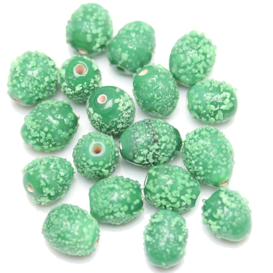 Lampwork Green Glass Oval 9x11mm Beads by Halcraft Collection
