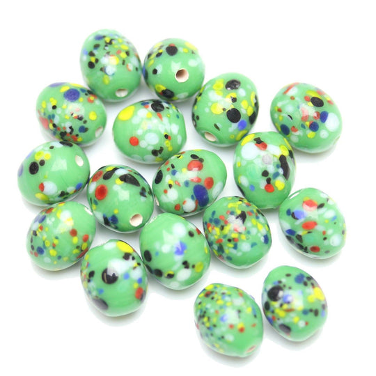 Lampwork Multi on Green Glass Oval 10x12mm Beads by Halcraft Collection