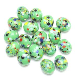 Lampwork Multi on Green Glass Oval 10x12mm