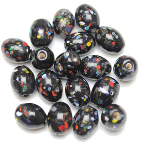 Lampwork Multi on Black Glass Oval 10x13mm