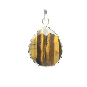 Tiger Eye Stone Faceted Teardrop Pendant 29x40mm  approx.Pendant by Bead Gallery