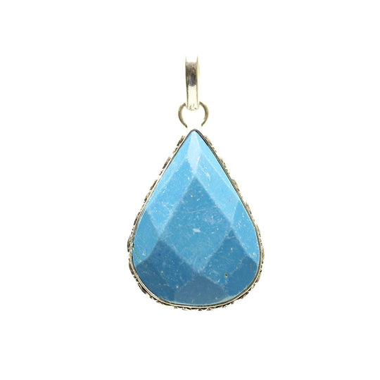 Aqua Dyed Quartz Stone Faceted Teardrop Pendant 29x40mm  approx.Pendant by Bead Gallery