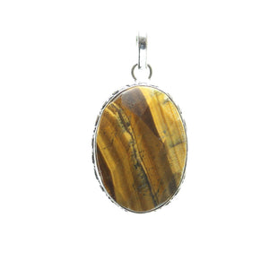 Tiger Eye Stone Faceted Oval Pendant 26x43mm  approx.Pendant by Bead Gallery