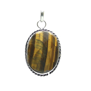 Tiger Eye Stone Faceted Oval Pendant 28x43mm  approx.Pendant by Bead Gallery