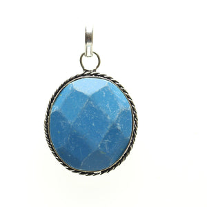 Aqua Dyed Quartz Stone Faceted Oval Pendant 28x43mm  approx.Pendant by Bead Gallery