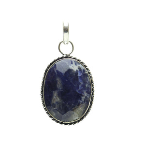 Sodalite Stone Faceted Oval Pendant 28x43mm  approx.Pendant by Bead Gallery