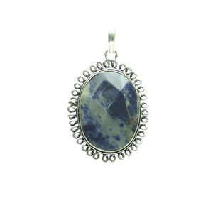 Sodalite Stone Faceted Oval Pendant 29x42mm  approx.Pendant by Bead Gallery