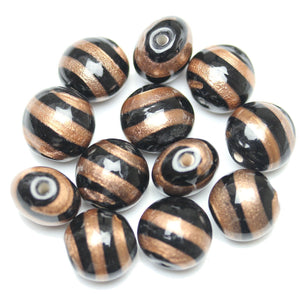 Lampwork Black with Topaz Glass Oval 12x14mm Beads by Halcraft Collection