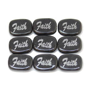 Faith on Black Dyed Dolomite Rectangle 10x14mm  - 6pcs