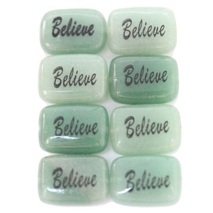 Believe on Green Aventurine Rectangle 13x18mm  - 4pcs