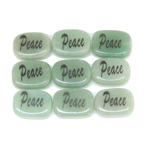 Peace on Green Aventurine Rectangle 10x14mm  - 6pcs