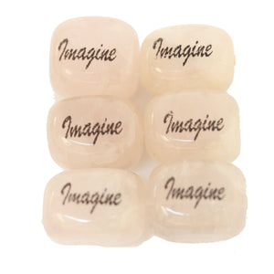 Imagine on Rose Quartz Rectangle 13x18mm  - 4pcs