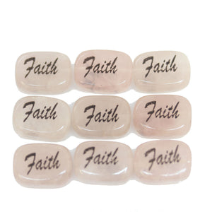 Faith on Rose Quartz Rectangle 10x14mm  - 6pcs