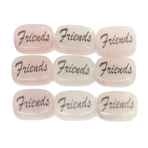 Friends on Rose Quartz Rectangle 10x14mm  - 6pcs