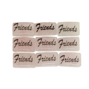 Friends one sided on Rose Quartz Rectangle 8x12mm - 10 piezas