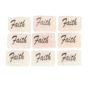Faith one sided on Rose Quartz Rectangle 8x12mm - 10 piezas