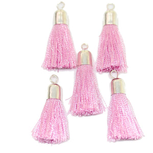 Pink Cotton Tassel 7x30mm  - 5pcs - Tassel by Bead Gallery