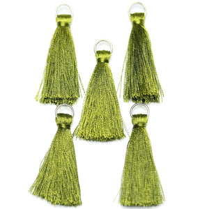 Tassel, Tassels, Charm, Charms, Cotton, Metal, Green, 11x46mm, 11mm, 46mm, Made in India