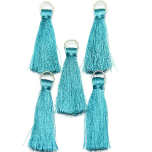 Tassel, Tassels, Charm, Charms, Cotton, Metal, Aqua, Blue, 11x46mm, 11mm, 46mm, Made in India