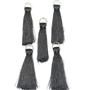 Black Cotton Tassel 11x46mm  - 5pcs - Tassel by Bead Gallery