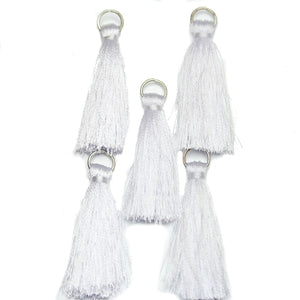 Tassel, Tassels, Charm, Charms, Cotton, Metal, White, 11x46mm, 11mm, 46mm, Made in India
