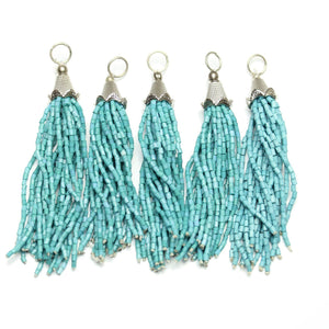 Turquoise Glass Tassel 15x75mm  - 5pcs - Tassel by Bead Gallery