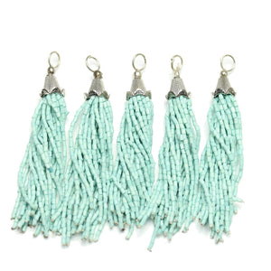 Tassel, Tassels, Charm, Charms, Glass, Metal, Light Aqua, Aqua, 15x75mm, 15mm, 75mm, Made in India