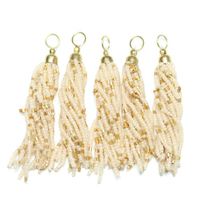 Topaz Mix Glass Tassel 15x75mm  - 5pcs - Tassel by Bead Gallery
