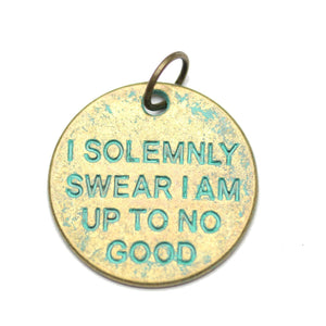 Patina Plated I Solemnly Swear I Am Up To No Good One Sided 20mm  - 2pcsCharm by Bead Gallery