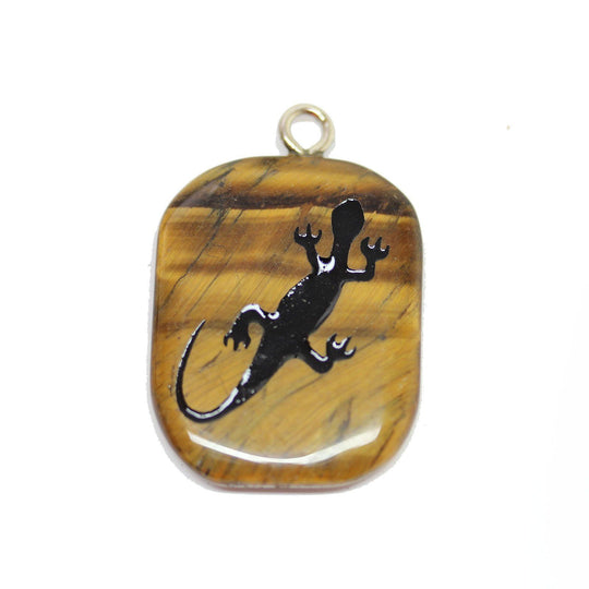 Salamander on Tiger Eye Cave Painting 27x39mm , Approx.Pendant by Halcraft Collection