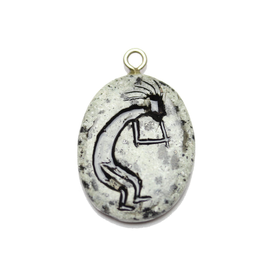 Kokopelli on Dalmatian Jasper Stone Cave Painting 27x39mm , Approx.Pendant by Bead Gallery