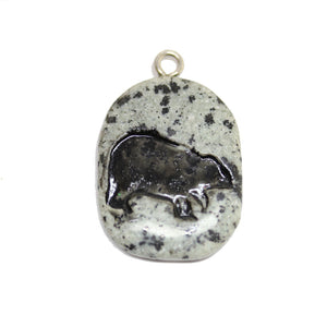 Polar Bear on Dalmatian Jasper Stone Cave Painting 27x39mm , Approx.Pendant by Halcraft Collection