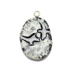 Birds on Dalmatian Jasper Stone Cave Painting 27x39mm , Approx.Pendant by Bead Gallery