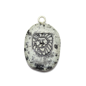 Lion on Dalmatian Jasper Stone Cave Painting 27x39mm , Approx.Pendant by Bead Gallery