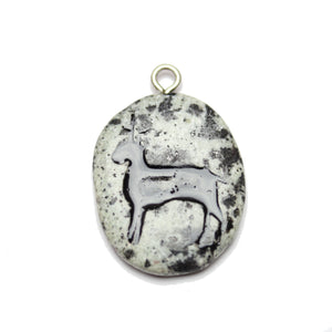 Horse on Dalmatian Jasper Stone Cave Painting 27x39mm , Approx.Pendant by Bead Gallery