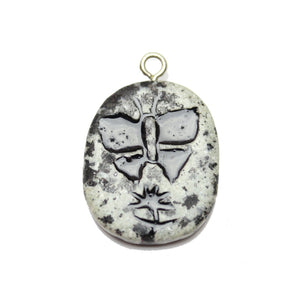 Butterfly on Dalmatian Jasper Stone Cave Painting 27x39mm , Approx.Pendant by Bead Gallery