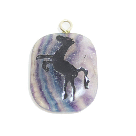 Horse on Purple Fluorite Stone Cave Painting 27x39mm , Approx.Pendant by Bead Gallery