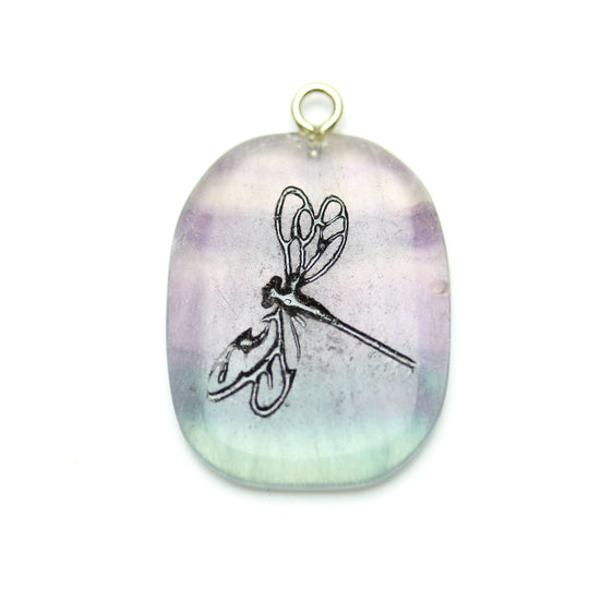Dragonfly on Purple Fluorite Stone Cave Painting 27x39mm , Approx.Pendant by Halcraft Collection