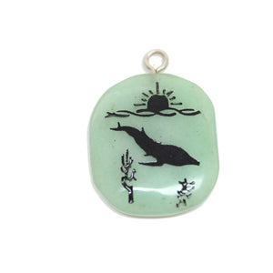 Whale on Green Aventurine Stone Cave Painting 27x39mm , Approx.Pendant by Halcraft Collection