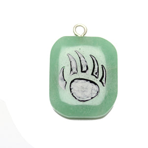 Bear Claw on Green Aventurine Stone Cave Painting 27x39mm , Approx.Pendant by Halcraft Collection