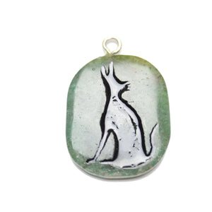 Wolf on Green Aventurine Stone Cave Painting 27x39mm , Approx.Pendant by Bead Gallery